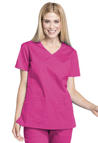 Cherokee Workwear Mock Wrap Top Electric Pink (WW655-EEPI)