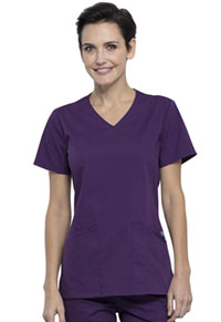 Cherokee Workwear Mock Wrap Top Eggplant (WW655-EGG)