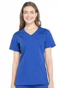 Cherokee Workwear Mock Wrap Top Galaxy Blue (WW655-GAB)
