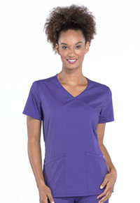 Cherokee Workwear Mock Wrap Top Grape (WW655-GRP)