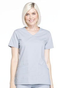 Cherokee Workwear Mock Wrap Top Grey (WW655-GRY)