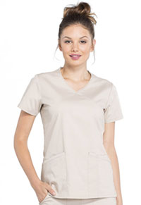 Cherokee Workwear Mock Wrap Top Khaki (WW655-KAK)