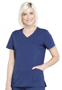Workwear WW Professionals Mock Wrap Top (WW655-NAV) (WW655-NAV)
