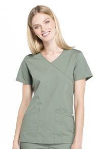 Cherokee Workwear Mock Wrap Top Olive (WW655-OLV)