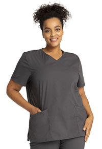 Cherokee Workwear Mock Wrap Top Pewter (WW655-PWT)
