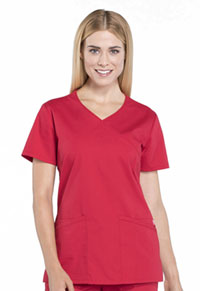 Cherokee Workwear Mock Wrap Top Red (WW655-RED)