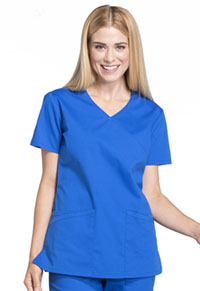Cherokee Workwear Mock Wrap Top Royal (WW655-ROY)