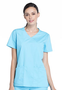 Cherokee Workwear Mock Wrap Top Turquoise (WW655-TRQ)