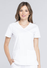 Cherokee Workwear Mock Wrap Top White (WW655-WHT)