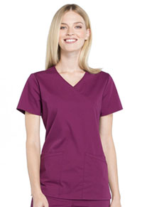 Cherokee Workwear Mock Wrap Top Wine (WW655-WIN)