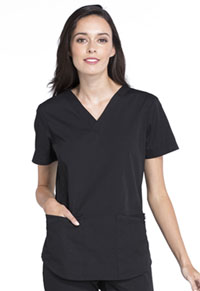 Cherokee Workwear V-Neck Top Black (WW665-BLK)
