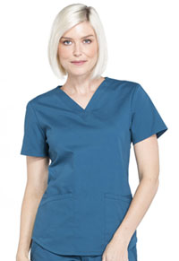Cherokee Workwear V-Neck Top Caribbean Blue (WW665-CAR)