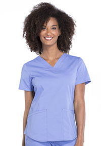 Cherokee Workwear V-Neck Top Ciel Blue (WW665-CIE)