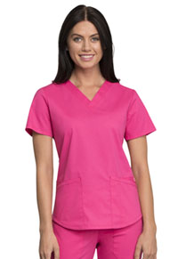 Cherokee Workwear V-Neck Top Electric Pink (WW665-EEPI)