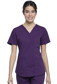 Cherokee Workwear V-Neck Top Eggplant (WW665-EGG)