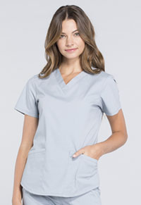 Cherokee Workwear V-Neck Top Grey (WW665-GRY)