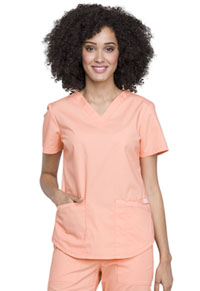 Cherokee Workwear V-Neck Top Orange Squeeze (WW665-ORSQ)