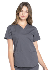 Cherokee Workwear V-Neck Top Pewter (WW665-PWT)