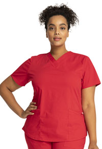 Cherokee Workwear V-Neck Top Red (WW665-RED)