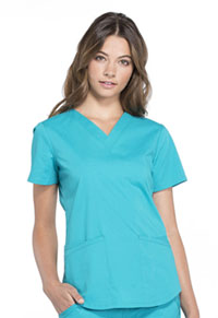 Cherokee Workwear V-Neck Top Teal Blue (WW665-TLB)