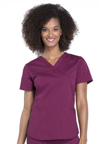 Cherokee Workwear V-Neck Top Wine (WW665-WIN)