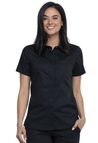 Cherokee Workwear Hidden Snap Front Collar Shirt Black (WW669-BLK)