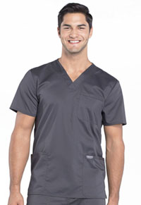 Cherokee Workwear Men's V-Neck Top Pewter (WW670-PWT)