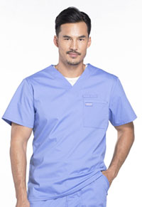 Cherokee Workwear Men's V-Neck Top Ciel Blue (WW675-CIE)