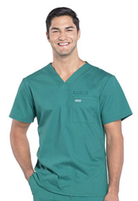 Cherokee Workwear Men's V-Neck Top Hunter Green (WW675-HUN)