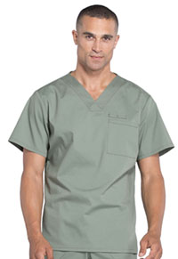 WW Professionals Men's V-Neck Top (WW675-OLV) (WW675-OLV)