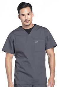 Cherokee Workwear Men's Tuckable V-Neck Top Pewter (WW675-PWT)