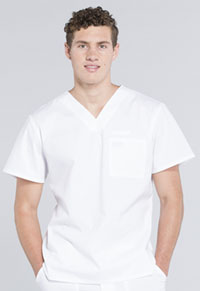 Cherokee Workwear Men's V-Neck Top White (WW675-WHT)