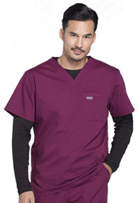 Cherokee Workwear Men's Tuckable V-Neck Top Wine (WW675-WIN)