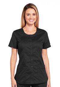 Cherokee Workwear Round Neck Top Black (WW683-BLKW)