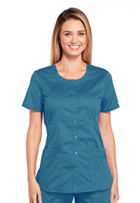 Cherokee Workwear Round Neck Top Caribbean Blue (WW683-CARW)