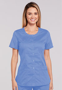 Cherokee Workwear Round Neck Top Ciel (WW683-CIEW)