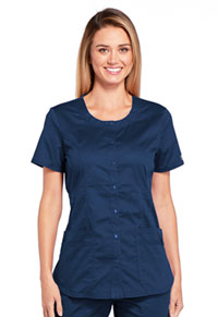 Cherokee Workwear Round Neck Top Navy (WW683-NAVW)