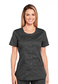 Cherokee Workwear Round Neck Top Pewter (WW683-PWTW)