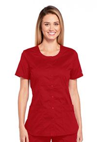 Cherokee Workwear Round Neck Top Red (WW683-REDW)