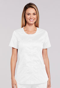 Cherokee Workwear Round Neck Top White (WW683-WHTW)