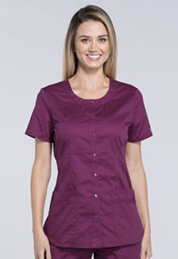 Cherokee Workwear Round Neck Top Wine (WW683-WINW)