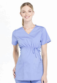 Cherokee Workwear Maternity Mock Wrap Top Ciel Blue (WW685-CIE)