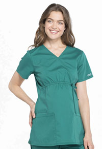 Cherokee Workwear Maternity Mock Wrap Top Hunter Green (WW685-HUN)