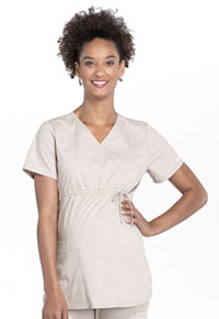 Cherokee Workwear Maternity Mock Wrap Top Khaki (WW685-KAK)