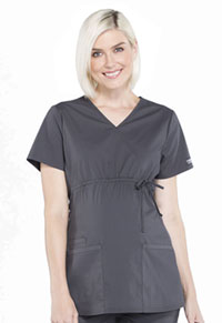 Cherokee Workwear Maternity Mock Wrap Top Pewter (WW685-PWT)