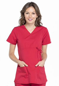 Cherokee Workwear Maternity Mock Wrap Top Red (WW685-RED)
