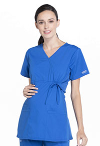 Cherokee Workwear Maternity Mock Wrap Top Royal (WW685-ROY)
