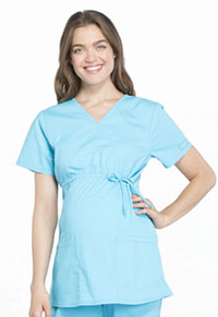 Cherokee Workwear Maternity Mock Wrap Top Turquoise (WW685-TRQ)