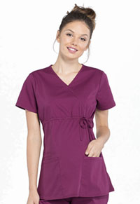 Cherokee Workwear Maternity Mock Wrap Top Wine (WW685-WIN)