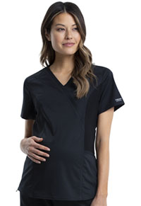 Cherokee Workwear Maternity Mock Wrap Top Black (WW688-BLK)